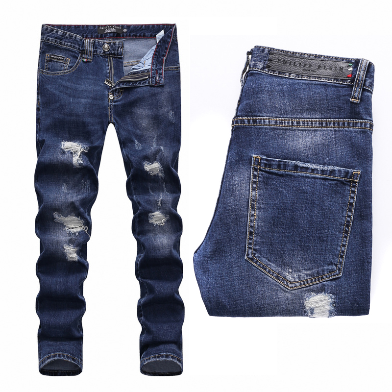 philipp plein distressed straight-leg hommes jeans like hole Philipp ... d49624c0a621
