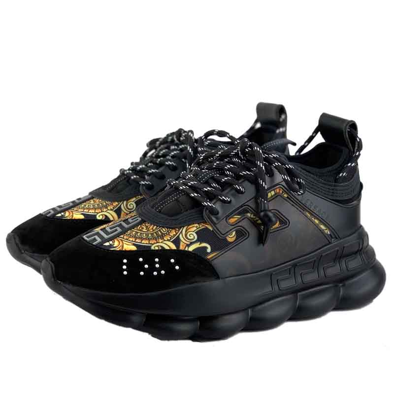 versace chaussures hommes chain reaction black sneakers